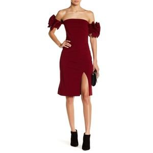 Gracia Burgundy Ruffle Off Shoulder Cocktail Dress